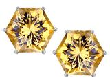 Star K™ Fancy Octagon Cut Earrings Studs with Simulated Imperial Yellow Topaz style: 309106