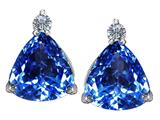 Star K™ 7mm Trillion Cut Simulated Blue Topaz Earrings Studs style: 309143