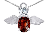 Star K™ Angel Of Love Protection Pendant Necklace With Oval 8x6mm Simulated Garnet style: 309213