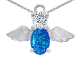 Star K™ Angel Of Love Protection Pendant Necklace Oval Blue Created Opal and Cubic Zirconia style: 309221