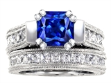 Star K™ 7mm Square Cut Created Sapphire Wedding Set style: 309227