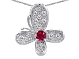 Star K™ Butterfly With Round Created Ruby Pendant Necklace style: 309285