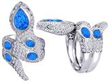 Star K™ Good Luck Snake Ring with Simulated Blue Opal Stones style: 309593