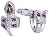 Star K™ Good Luck Snake Ring with Rainbow Mystic Topaz Stones style: 309598