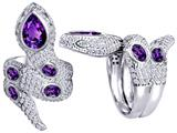 Star K™ Good Luck Snake Ring with Simulated Amethyst Stones style: 309599