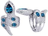 Star K™ Good Luck Snake Ring with Simulated Blue Topaz Stones style: 309601