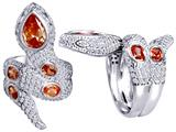 Star K™ Good Luck Snake Ring with Simulated Orange Mexican Fire Opal Stones style: 309605