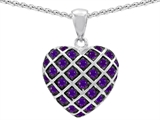 Star K™ Round Simulated Amethyst Puffed Heart Pendant Necklace style: 309668