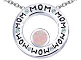 Star K™ MOM Circle Mothers Pendant Necklace with Round 7mm Pink Created Opal style: 309724