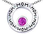 Star K™ MOM Circle Mothers Pendant Necklace with Round 7mm Created Pink Sapphire style: 309725