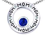 Star K™ MOM Circle Mothers Pendant Necklace with Round 7mm Created Sapphire style: 309727