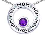 Star K™ MOM Circle Mothers Pendant Necklace with Round 7mm Simulated Amethyst style: 309728