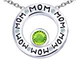 Star K™ MOM Circle Mothers Pendant Necklace with Round 7mm Simulated Apple Green Amethyst style: 309729