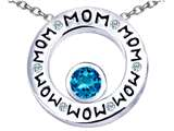 Star K™ MOM Circle Mothers Pendant Necklace with Round 7mm Simulated Blue Topaz style: 309731