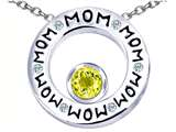 Star K™ MOM Circle Mothers Pendant Necklace with Round 7mm Simulated Citrine style: 309732