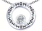 Star K™ MOM Circle Mothers Pendant Necklace with Round 7mm Simulated White Topaz style: 309733