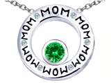 Star K™ MOM Circle Mothers Pendant Necklace with Round 7mm Simulated Emerald style: 309734