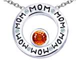 Star K™ MOM Circle Mothers Pendant Necklace with Round 7mm Simulated Orange Mexican Fire Opal style: 309735