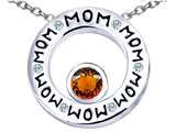 Star K™ MOM Circle Mothers Pendant Necklace with Round 7mm Simulated Garnet style: 309736