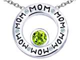 Star K™ MOM Circle Mothers Pendant Necklace with Round 7mm Simulated Peridot and Cubic Zirconia style: 309739