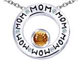 Star K™ MOM Circle Mothers Pendant Necklace with Round 7mm Simulated Imperial Yellow Topaz style: 309740