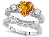 Star K™ Heart Shape 7mm Genuine Citrine Wedding Set style: 309752