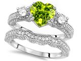 Star K™ Heart Shape 7mm Genuine Peridot Wedding Set style: 309756