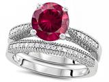 Star K™ Round 7mm Created Ruby Wedding Set style: 309758