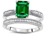 Star K™ Emerald Cut 8x6mm Simulated Emerald Wedding Set style: 309822
