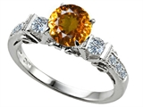 Star K™ Classic 3 Stone Ring With Round 7mm Genuine Citrine style: 309881
