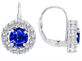 Star K™ Lever Back Dangling Earrings With 6mm Round Created Sapphire style: 309885