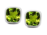 Star K™ 8mm Cushion Cut Simulated Peridot Earrings Studs style: 309891