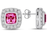 Star K™ 7mm Cushion Cut Created Pink Sapphire Halo Earrings Studs style: 309893