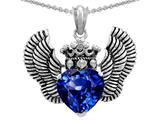 Star K™ Heart Shape Created Sapphire Wings True Love Pendant Necklace style: 310038