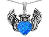 Star K™ Heart Shape Simulated Blue Opal Wings True Love Pendant Necklace style: 310039