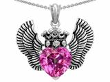 Star K™ Heart Shape Created Pink Sapphire Wings True Love Pendant Necklace style: 310040