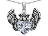 Star K™ Heart Shape Genuine White Topaz Wings True Love Pendant Necklace style: 310041