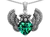 Star K™ Heart Shape Simulated Emerald Wings True Love Pendant Necklace style: 310043