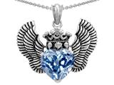 Star K™ Heart Shape Simulated Aquamarine Wings True Love Pendant Necklace style: 310044