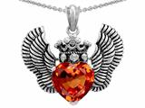 Star K™ Heart Shape Simulated Orange Mexican Fire Opal Wings True Love Pendant Necklace style: 310045