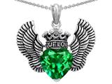 Star K™True Love Heart Shape Simulated Emerald Crown Wings Pendant Necklace style: 310081