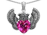 Star K™True Love Heart Shape Created Pink Sapphire Crown Wings Pendant Necklace style: 310082