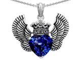 Star K™True Love Heart Shape Created Sapphire Crown Wings Pendant Necklace style: 310083