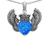 Star K™True Love Heart Shape Blue Created Opal Crown Wings Pendant Necklace style: 310085