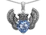 Star K™True Love Heart Shape Simulated Aquamarine Crown Wings Pendant Necklace style: 310086