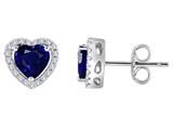 Star K™ Heart Shape Created Sapphire Halo Earring Studs style: 310249