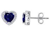 Star K™ Heart Shape Created Sapphire Halo Earring Studs style: 310249