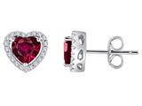 Star K™ Heart Shape Created Ruby Halo Earring Studs style: 310250