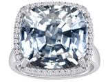 Star K™ Large Cushion Cut Simulated White Topaz Halo Ring style: 310365
