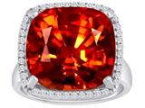 Star K™ Large Cushion Cut Simulated Garnet Halo Ring style: 310366